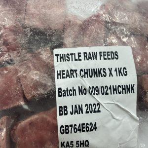 Thistle Raw Heart Chunks 1kg - Frozen Dog Foods