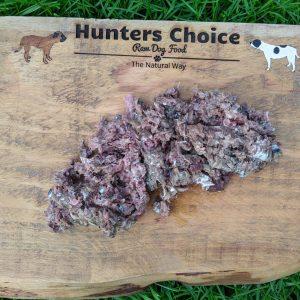 Hunters Choice Chicken & Oily Fish 1kg - Raw Dog Food on Chopping Board